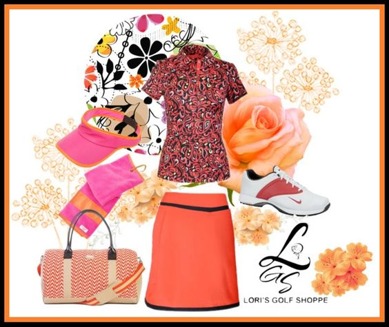 The Tail Ladies Outfit in Orange is perfect in Spring and Summer! Check out more sets at lorisgolfshoppe.polyvore.com #golf #fashion #ootd #lorisgolfshoppe