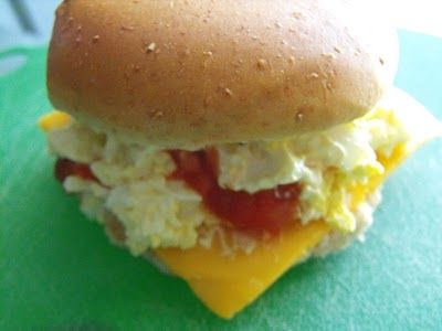 Egg, Salsa and Cheddar Cheese are a great combo, so why not make it into a sandwich? #food