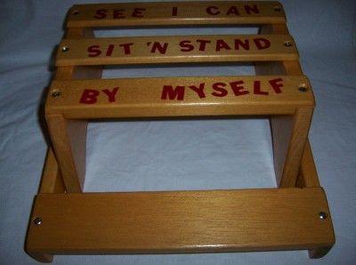 Childs Wood Step Stool Seat Sayings Kids Toddler Vintage