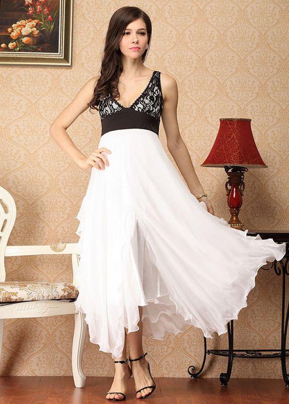 Kleid aus Seide V Auschnitt NQ2061