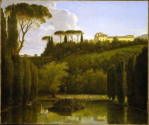"1810, ""View of the gardens of the Villa Falconieri, Frascati"" - Pierre Athanase Chauvin:"
