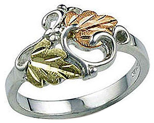 Ladies Sterling Silver Ring With 12 Karat Black Hills Gold Leaves Features Black Hills Gold Jewelry Black Hills Gold Black Hills Gold Rings