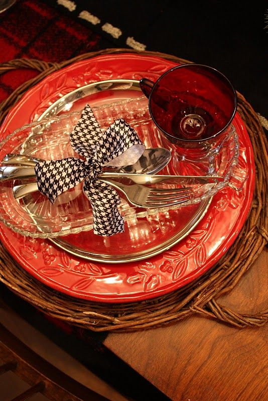 cute houndstooth bow tied around silverware for table decorations