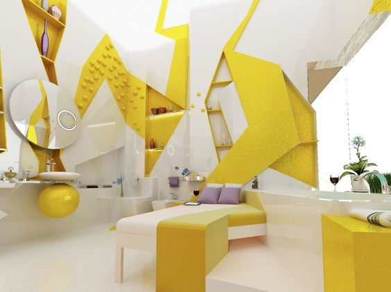 Great Yellow And White Bedroom:: how cool is this?