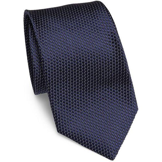 Corneliani Textured Silk Tie (460 BRL) ❤ liked on Polyvore featuring men's fashion, men's accessories, men's neckwear, ties, navy, mens navy tie, mens ties and mens silk ties