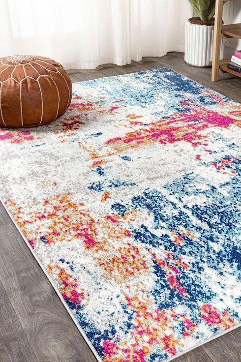 Sunset Modern Abstract Blue Multi Jonathan Y In 2020 Gorgeous Bathroom Designs Bright Rugs Unique Rugs