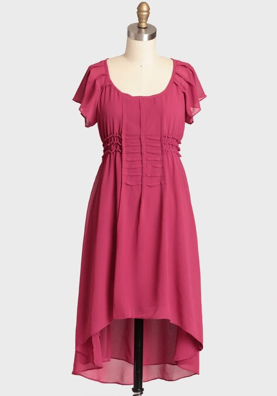Sweet Rhubarb Chiffon Dress | Modern Vintage Affordable Lengths