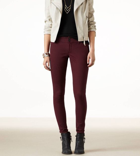 AE SKINNY TROUSER STYLE: 1328-2195 | COLOR: 126 (Burgundy) Size: 6 ...