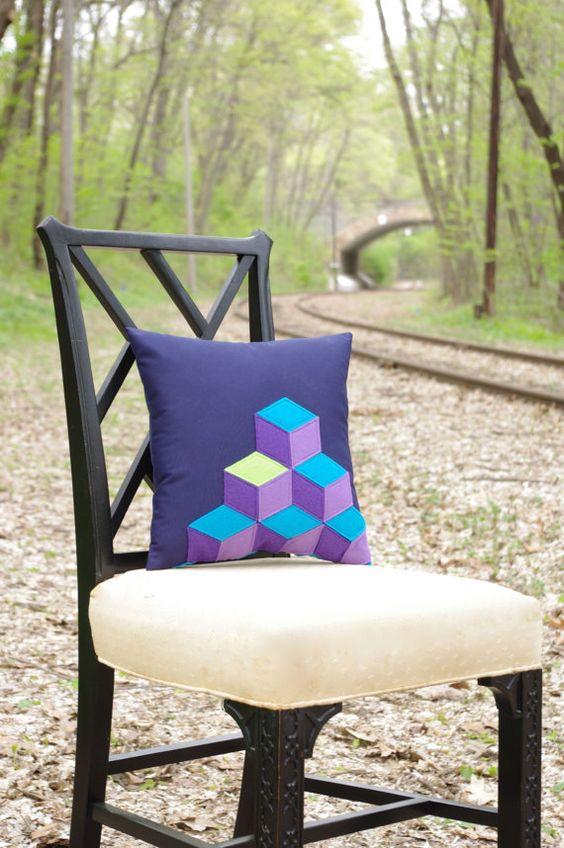 Q Bert Geometric Pillow in Navy Blue and Purple by regansbrain, $45.00  #Q-Bert #80's