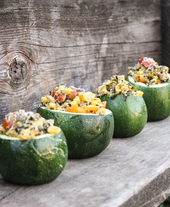 stuffed zucchini with pesto couscous - Dishing Up the Dirt