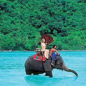 Thailand. Clear waters and elephants.