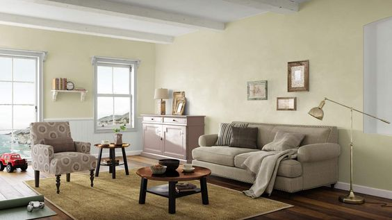 I created this Rustic Country living room using Design By What Matters by Benjamin Moore. What's your design personality? #BenjaminMoore #DBWM