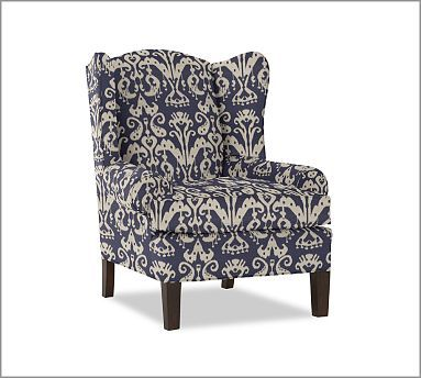 pottery barn emery wingback chair armchair graphic ikat. pottery barn emery wingback chair armchair graphic ikat blue white