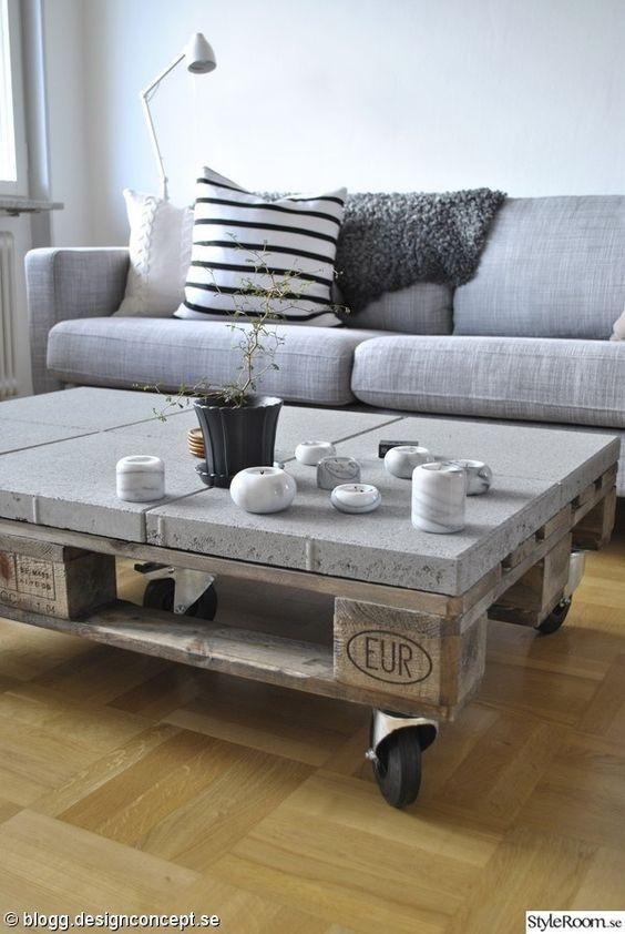 Plateau en béton sur une table basse en palette  http://www.homelisty.com/meuble-en-palette/