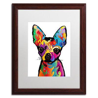 "Trademark Art ""Chihuahua Dog White"" by Michael Tompsett Framed Graphic Art Size:"