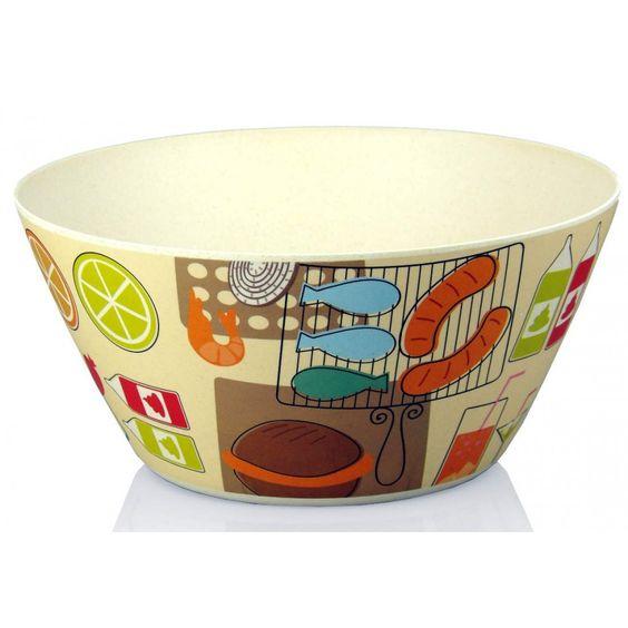 Bol, ensaladera o frutero de madera de bambú reciclada y estampada, de 25 cm de diámetro. Reciclaje, diseño y utilidad en una misma pieza.