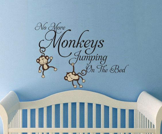 Large No more Monkeys jumping on the bed vinyl words wall quote design decal Monkey Jungle Friends. $48.00, via Etsy.