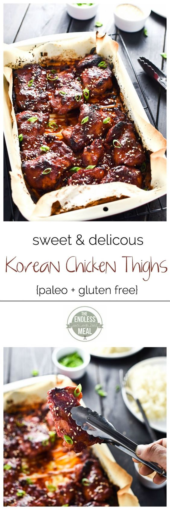 Sweet Korean Paleo Chicken Thighs with Cauliflower Rice | A super easy to make and incredibly delicious paleo meal your whole family will love! | http://theendlessmeal.com