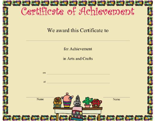 This Arts and Crafts Achievement certificate features a number of - free certificate of achievement