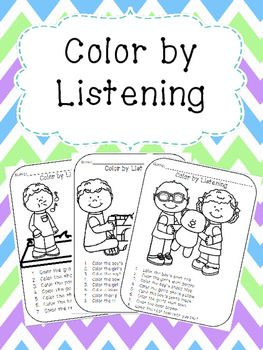 Color by Listening is an activity where students listen to oral directions and must color the picture to match. Would make a great first week activity to practice active listening skills and following directions! -------------------------------------------------------------------------------------------------I would love to hear from you, please leave me a rating & comment!