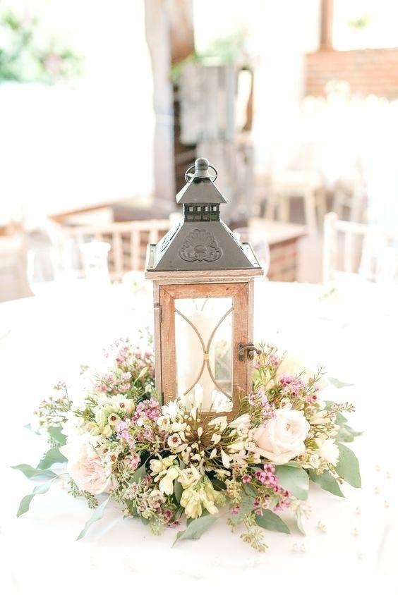 Rose Gold Lantern Centerpieces Rustic Wildflowers And Wood Lantern Wedding Lantern Centerpiece Wedding Rustic Wedding Centerpieces Amazing Wedding Centerpieces