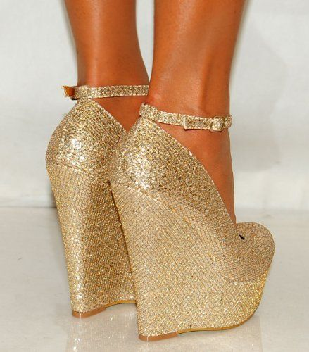 Ladies Womens Gold Silver Glitter Shimmer Court Wedges Platforms ...