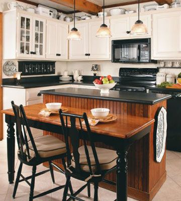 Beautiful the cottage and cottages on pinterest for Black country kitchen cabinets