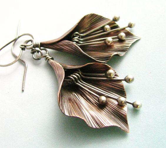 Mixed Metal Lily Flower Earrings Argentium Sterling by Mocahete