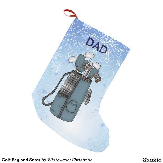 Golf Bag and Snow Small Christmas Stocking