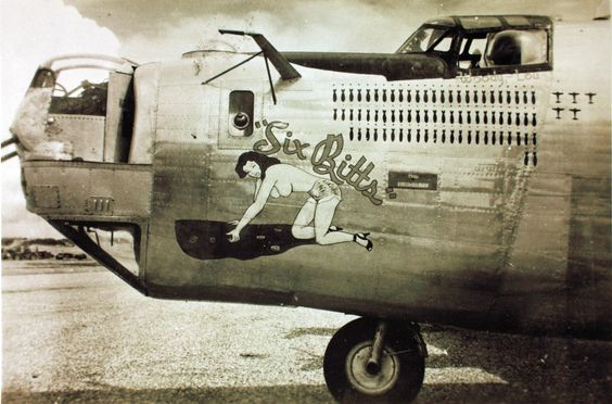 "B-24 Liberator World War II bomber, ""Six Bitts"""