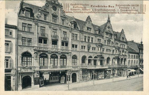 Friedrichsbau um 1910 - Schönes Bild des Friedrichsbau. Aufnahme dürfte ungefähr um 1910 entstanden sein. Mehr Info's zum Friedrichsbau unterhttp://www.historisches-freiburg.de/innenstadt/bauwerke/friedrichsbau/ Danke an die Sammlung Oehler   /*  */