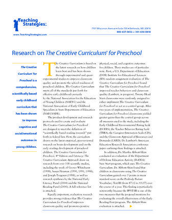 Preschool Curriculum Research on The Creative Curriculum for