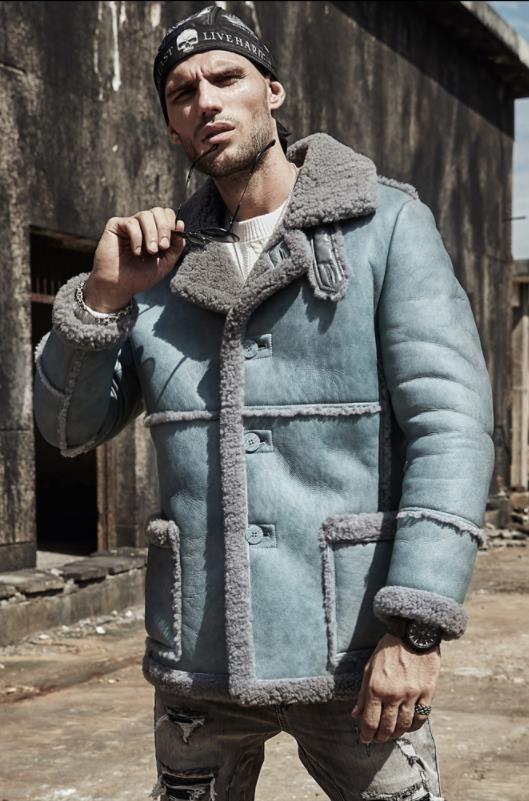 Denny Dora Men S Long Style B3 B7 Sheepskin Shearling Jacket Bomber Men S Fur Coat Winter Flying Jacket Mens Shearling Jacket Mens Fur Coat Mens Winter Fashion