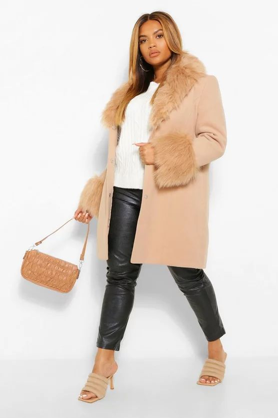 Plus Faux Fur Shawl Collar Wool Look Coat