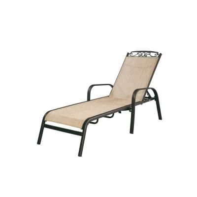 Hampton bay santa maria adjustable patio chaise lounge for Chaise longue jardin brico depot