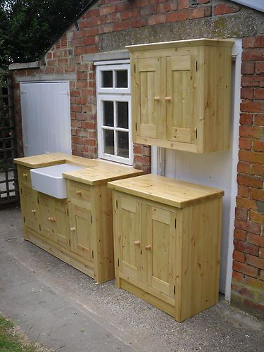 3 SOLID PINE FREESTANDING KITCHEN UNITS DOVETAILED DRAWERS BELFAST SINK