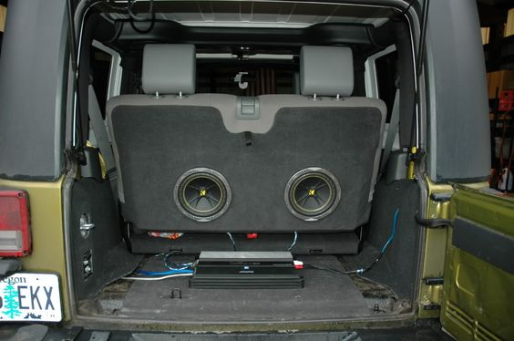 subwoofer enclosure ideas in your back seat its a jeep. Black Bedroom Furniture Sets. Home Design Ideas