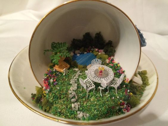 Miniature Inside A Tea Cup by MiniEstates (74.95 USD) http://ift.tt/1Gl6uSl
