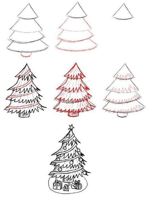Wie Zeichnet Man Kombinieren Baum Step By Step Image Guides Pencil Landscape Drawing Pencil Drawing Christmas Tree Drawing Easy Christmas Tree Drawing Christmas Drawing