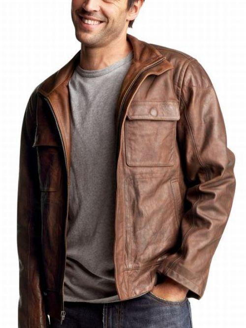 Brown Mens Leather Jacket 986DZL