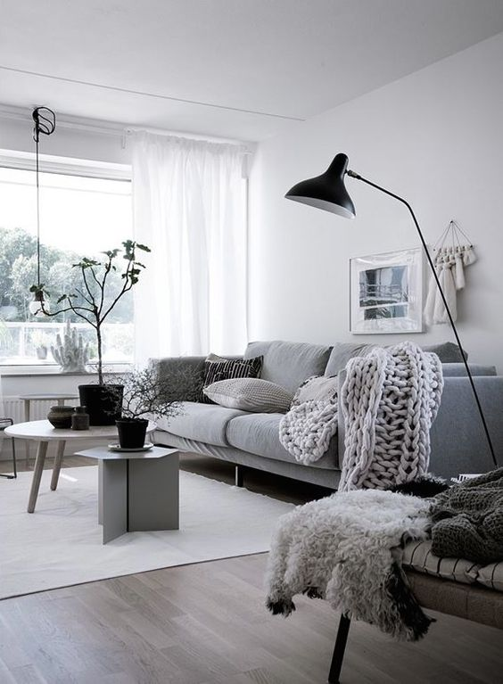 Nordic living room, chunky knit throw