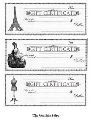 Click Here For Full Size Printable Gift Certificate | Gift