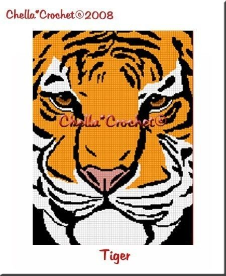 INSTANT DOWNLOAD cross stitch Chella Crochet Bengal Tiger Face Afghan Crochet Pattern Graph Chart .PDF