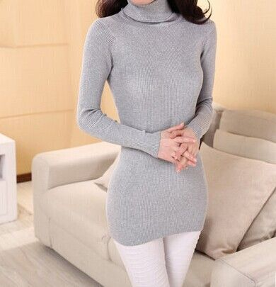 autumn medium-long elastic sweater long-sleeve sweater female pullover turtleneck sweater