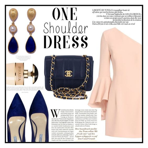 """""""One-shoulder dress"""" by norairh ❤ liked on Polyvore featuring Prada, Exclusive for Intermix and Chanel"""