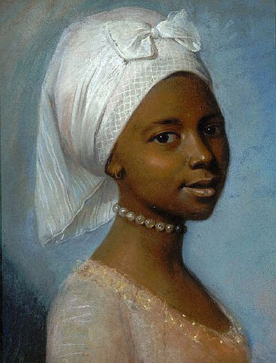 Dido Elizabeth Belle (1761-1804) daughter of Admiral Sir John Lindsay and an enslaved African woman known as Maria Belle. She was raised in England. Similar style portrait, though not American.: