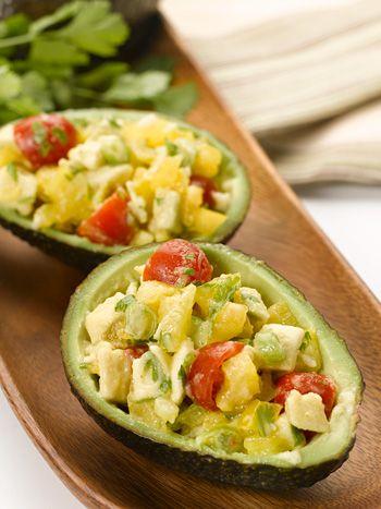 Avocado salad in an avocado bowl. So cute!