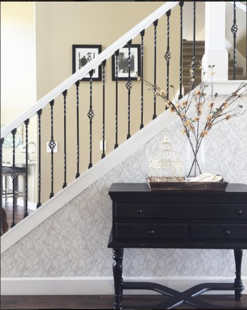 "So happy that Ashley from Ashleys Decor Space used our wallpaper in ""Twigs"" to jazz up her staircase!"