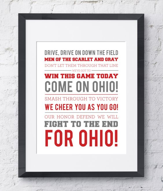 Ohio State Wall Art the ohio state university fight song wall art - printable download