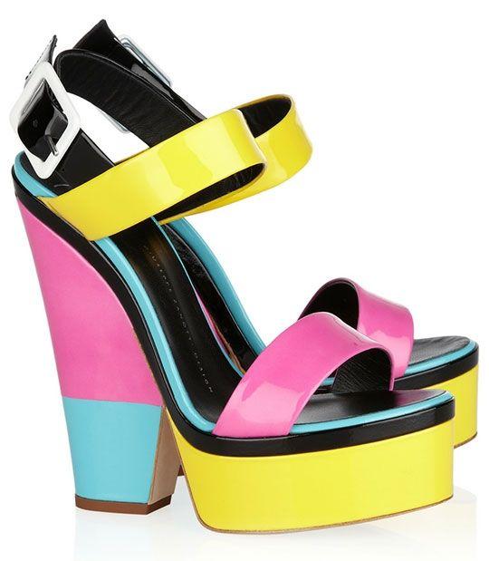 Neon neon neon color block shoes